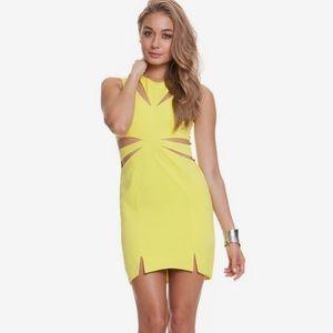 Neon yellow sexy body con dress